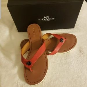 Coach Shelly red Leather Thong Sandals
